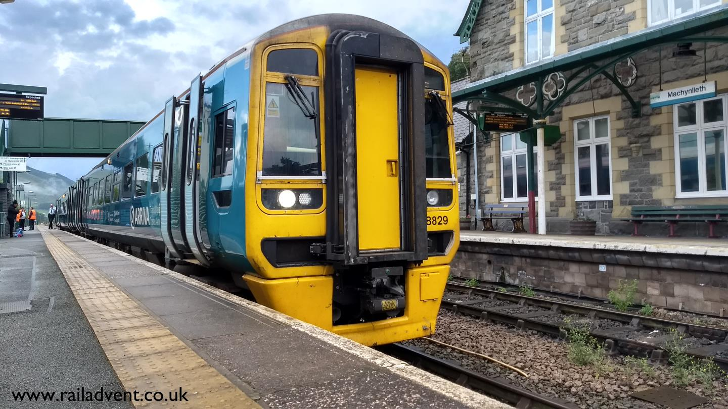Arriva Trains Wales 158829 stands at Machynlleth with a service for Aberystwyth