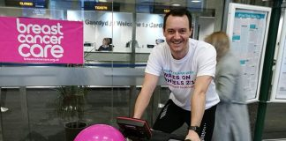 Arriva Trains Wales charity bike ride at Cardiff Central railway station