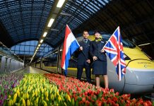 Inaugural train from London to Amsterdam