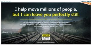 Network Rails warning to people trespassing on electrified railway
