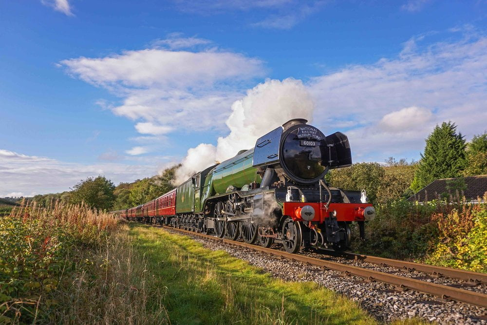 Flying Scotsman approaches Irwell Vale on the East Lancs Railway