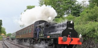 Steam locomotive No. 7109 at the Somerset and dorset joint railway