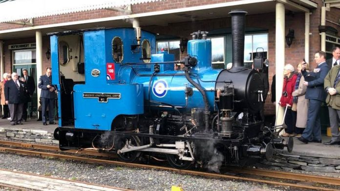 steam locomotive no. 6 douglas in its new RAF livery