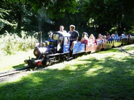 Steam train at watford miniature railway with Marri at the helm