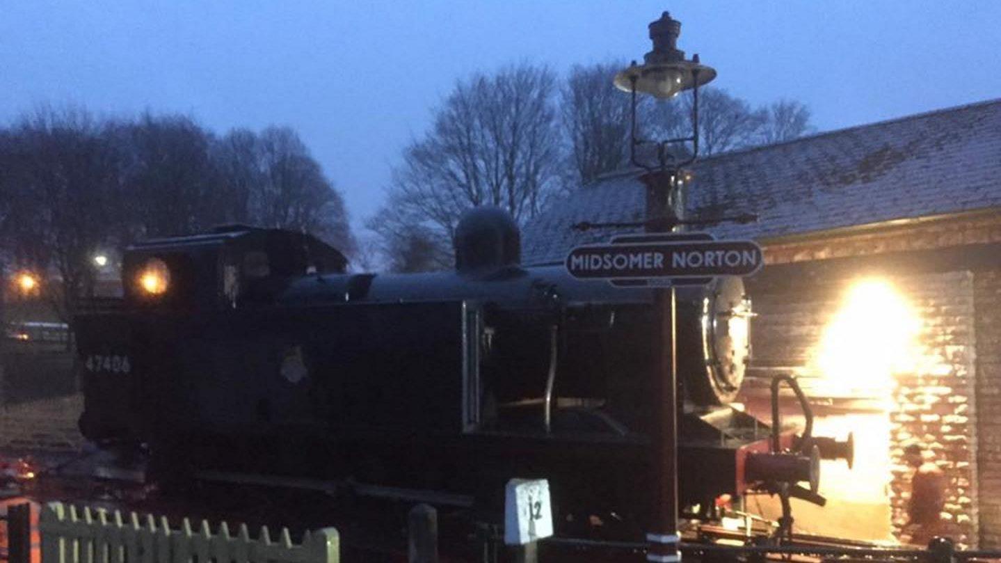47406 Arriving at the Somerset & Dorset Railway - at Midsomer Norton // Credit Somerset & Dorset Railway - at Midsomer Norton