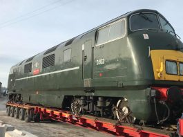 """D832 """"Onslaught"""" Arrives at Wirksworth // Credit Ecclesbourne Valley Railway"""