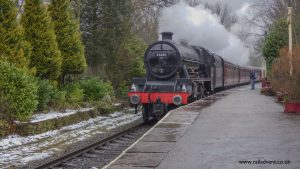 Leander steams through Summerseat during the East Lancashire Railway Spring Steam Gala 2018