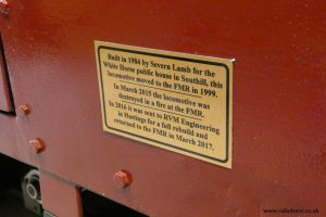 Plaque on the side of locomotive