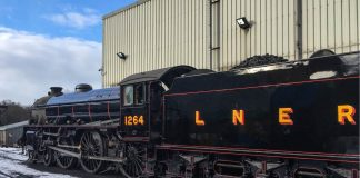 No. 1264 in its new livery outside Grosmont MPD