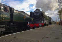 Flying Scotsman passes 34092 'City of Wells' at Ramsbottom