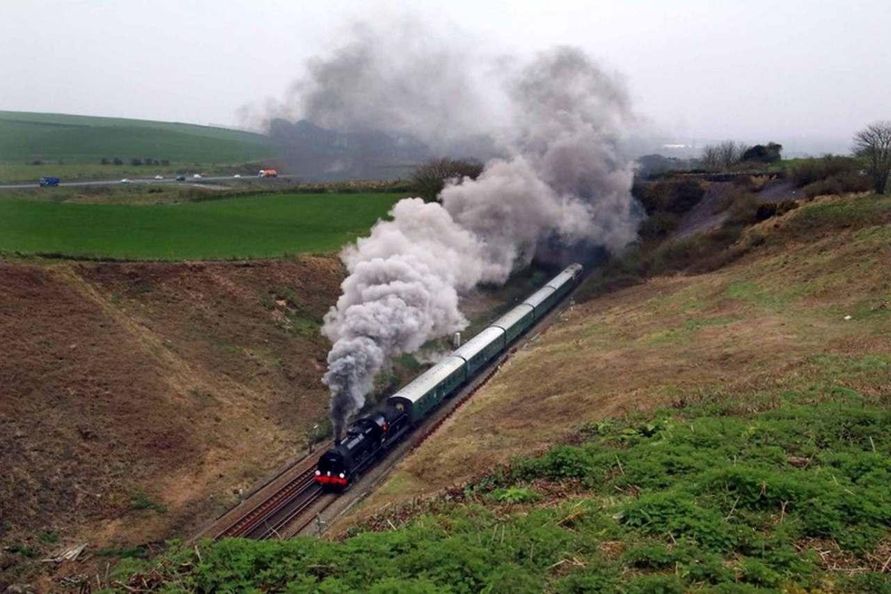 Steam locomotive no. 31806 on mainline test at Yeovil Junction