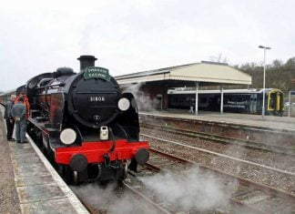 Steam locomotive no. 31806 on mainline test at Yeovil Junction