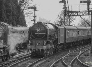 Tornado passes No. 8572 at Bridgnorth on the Severn Valley Railway