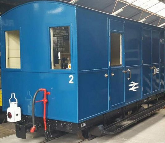 Welsh highland heritage railway repaint brake van into BR BLue