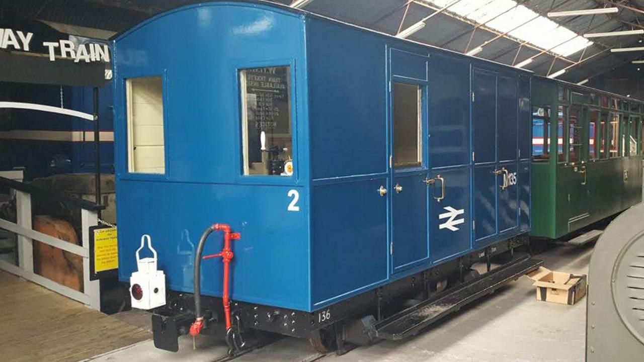 Welsh highland heritage railway repaint brake van into BR BLue