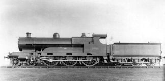 """No.2222 """"Sir Gilbert Claughton"""" in as Built Condition // Credit Unknown"""