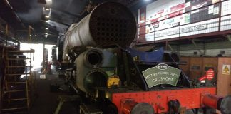 steam locomotive 92134 at Grosmont MPD on the North Yorkshire Moors Railway