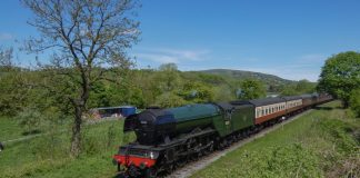 Flying Scotsman coasts towards Irwell Vale on the East Lancashire Railway