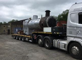 78022's boiler arrives back at the Keighley and Worth Valley Railway