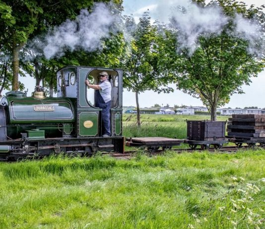 """""""Jurassic"""" on a demonstration freight train made up of restored wagons from Lincolnshire narrow gauge railways"""