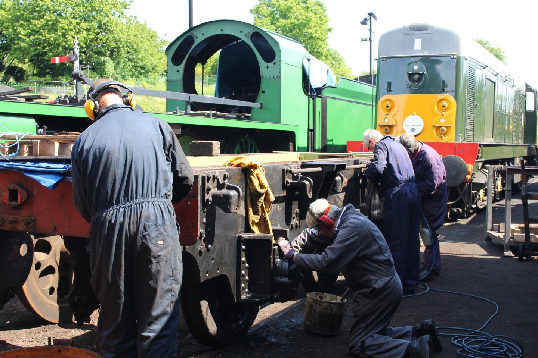 Tender's Frame being Painted // Credit Mid Hants Railway