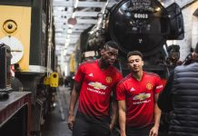 Manchester United players Paul Pogba and Jesse Lingard at the East Lancashire Railway