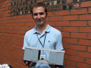 Andrew Mawer with his completed model -- thanks to information gleaned by his mother on the way to Tristan da Cunha!
