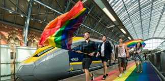 Passengers travelling by Eurostar to London to celebrate Pride 2018 are welcomed by a rainbow carpet on the platforms at St Pancras International.