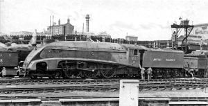 "22 ""Mallard"" During the 1948 Exchange Trials at Kings Cross // Credit Unknown"
