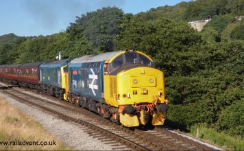 37401 and 25059 at Damems Junction on the Keighley and Worth Valley Railway Diesel and mixed traffic Gala