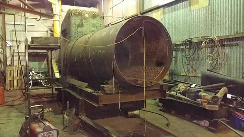 Boiler Undergoing Repairs at Llangollen Railway // Credit LRGWLG
