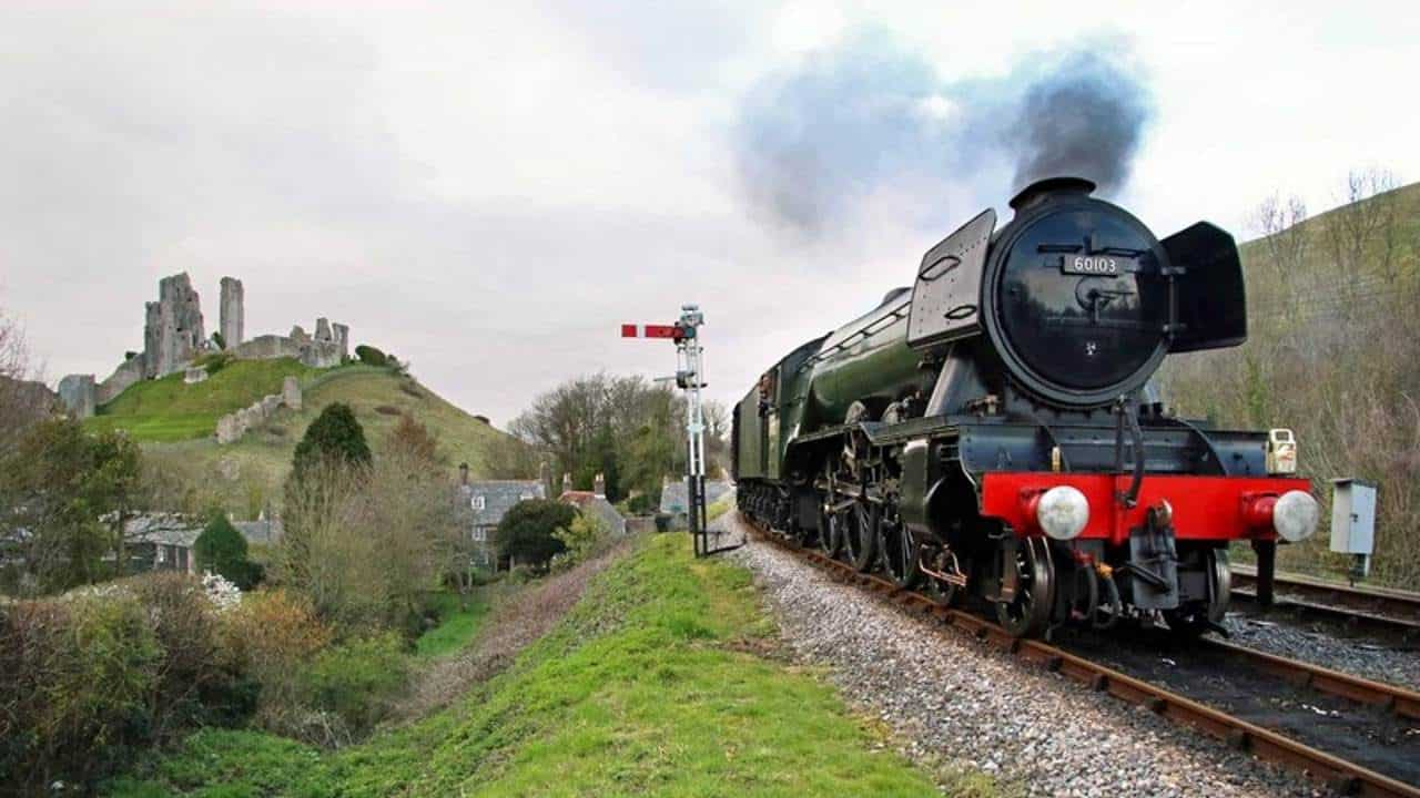 60103 Flying Scotsman at Corfe Castle