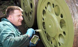 Painting 34010's Bogie Wheels // Credit SLL