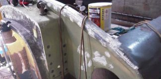 Filling and Painting the Rear of the Tender Tank // Credit The Sir Nigel Gresley Locomotive Trust Ltd