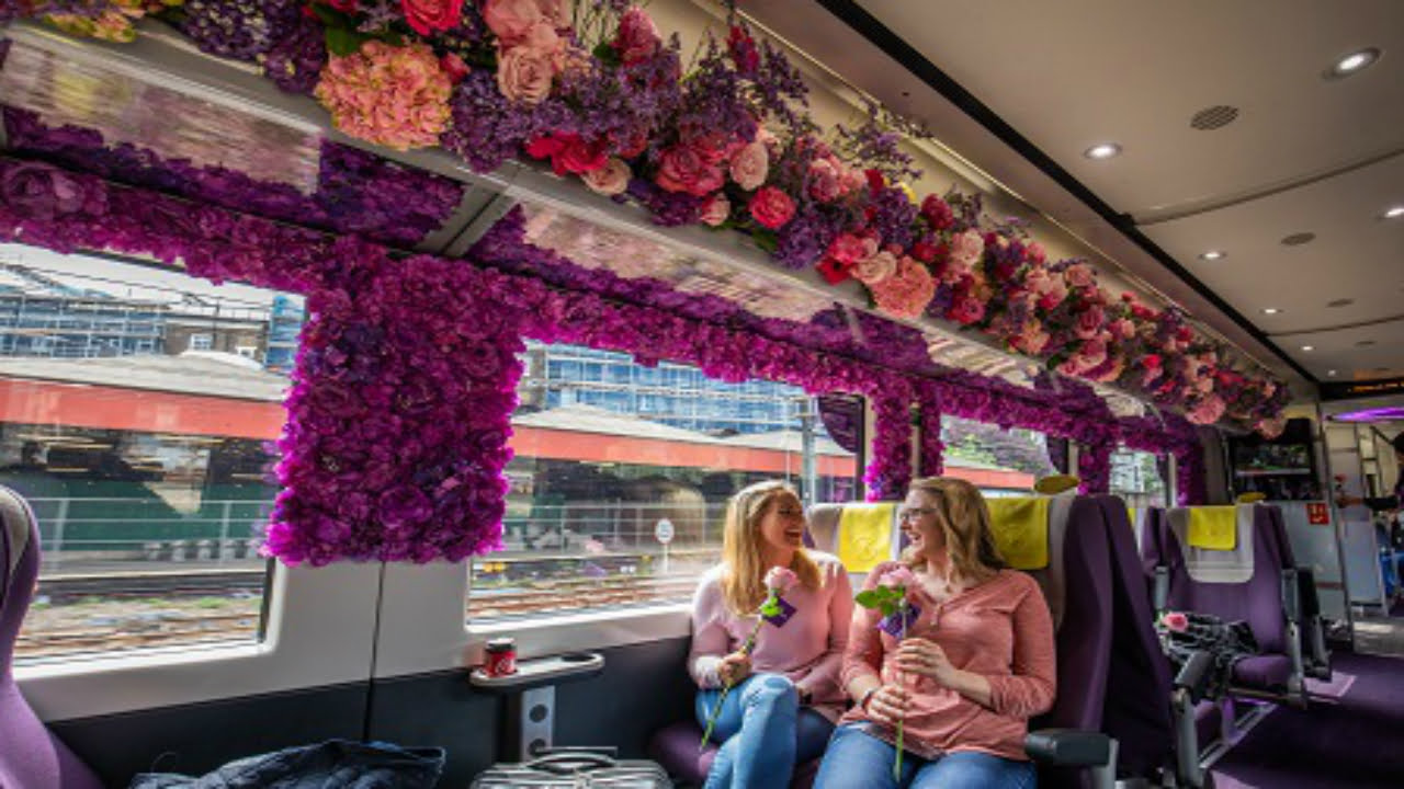 Flower display on board Heathrow Express