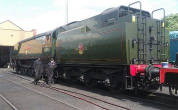 34092 City of Wells with 34067 Tangmere's tender