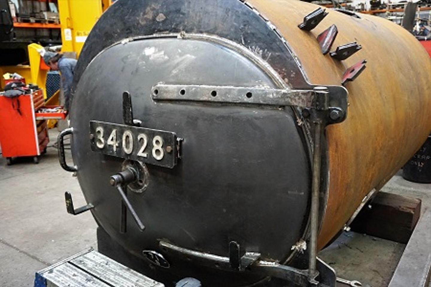 New Door Fitted on 34028's Smokebox // Credit SLL