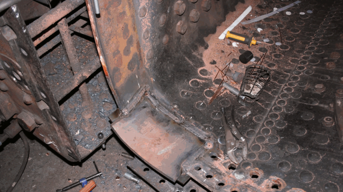 Repairs to Inner Copper Firebox // Credit SMF