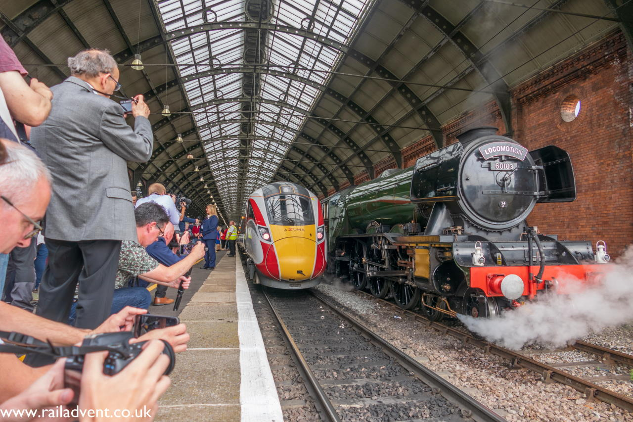 Flying Scotsman and LNER azuma at Darlington