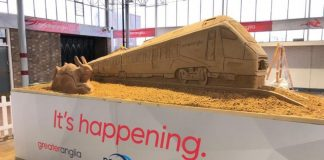 Sand sculpture of new Greater Anglia train