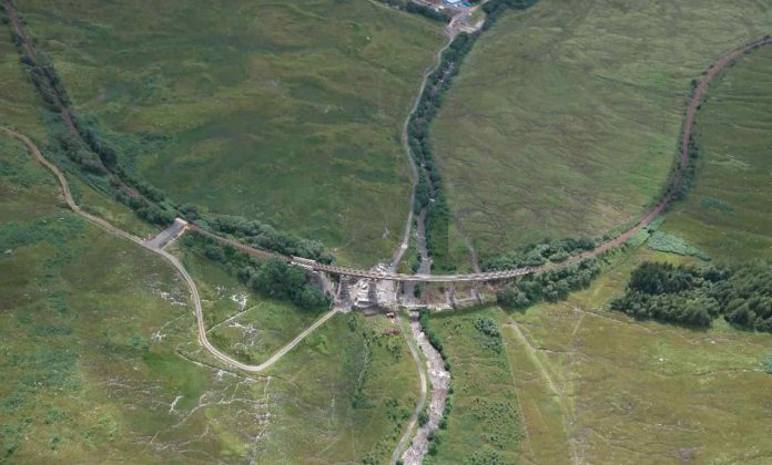 Auch viaduct Aerial horseshoe West Highland Line