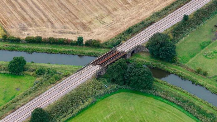 Bridge in Burscough being replaced on the Wigan to Southport line