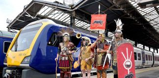 The Romans of Deva Victrix welcome the Northern train of the same name to Chester station