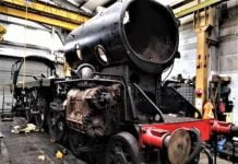 34059's Chassis being Dismantled // Credit Bluebell Railway
