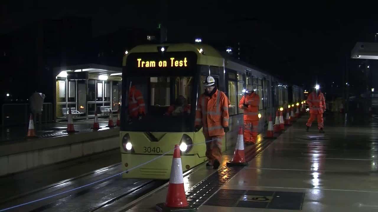 Test tram on the metrolink