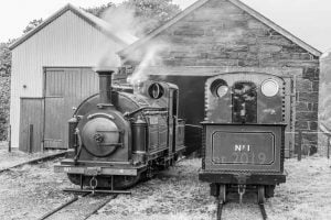 Palmerston & Princess on shed at the Ffestiniog Railway