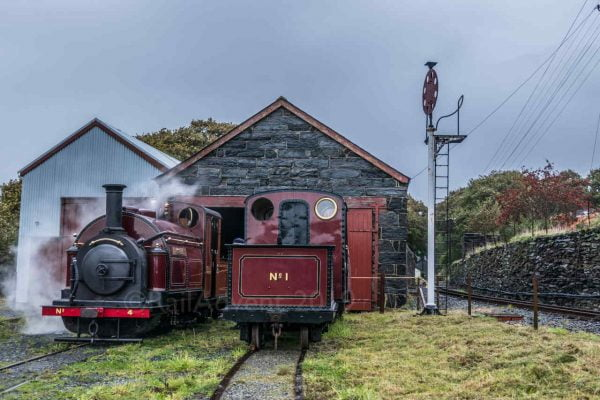 Palmerston and Princess at Boston Lodge on the Ffestiniog Railway