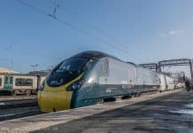 New Alstom Avanti West Coast livery for Class 390 Pendolino at Crewe