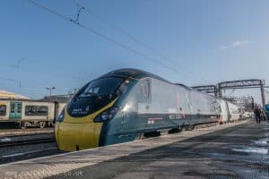 New Avanti West Coast livery for Class 390 Pendolino at Crewe