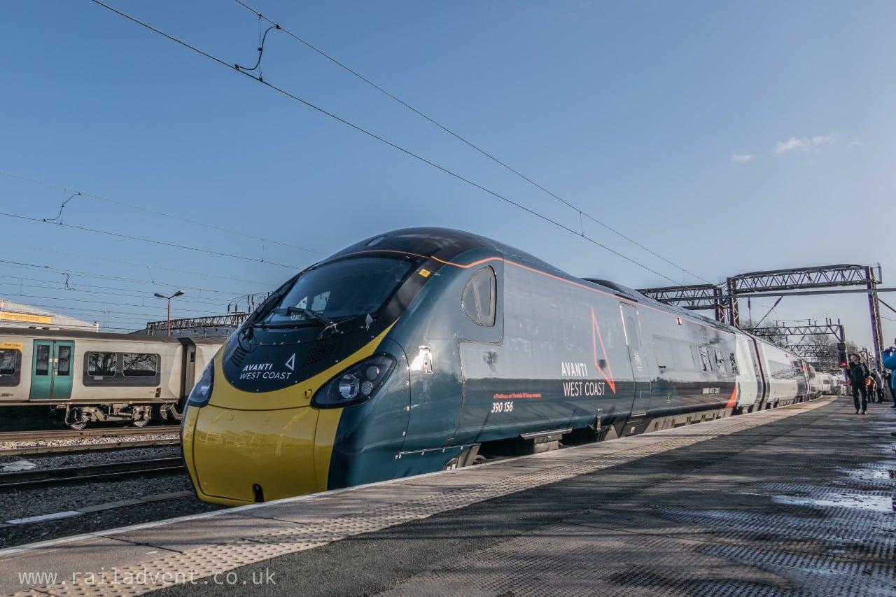 New Alstom Avanti West Coast livery for Class 390 Pendolino at Crewe